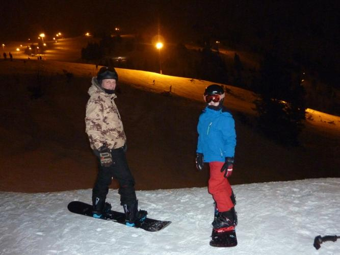 Night snowboarding in Obertauern
